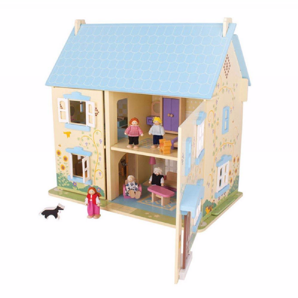 Sunflower Cottage Dolls House, With Furniture and People. Bigjigs JT129